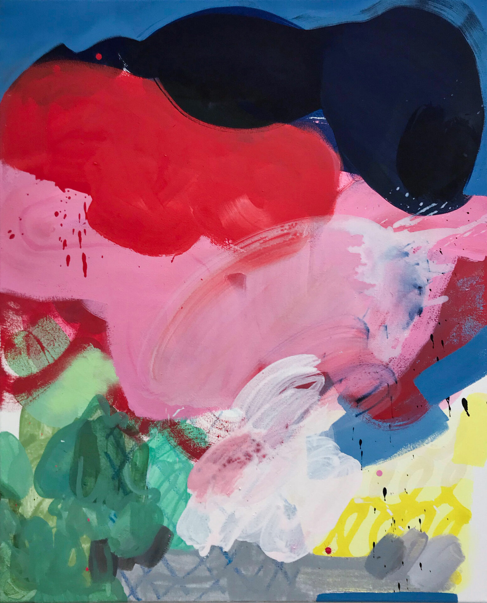 "Malerei ""Mixed Feeling"", Öl, Sprühfarbe, Acryl auf Leinwand. 2018 Lisa Breyer"