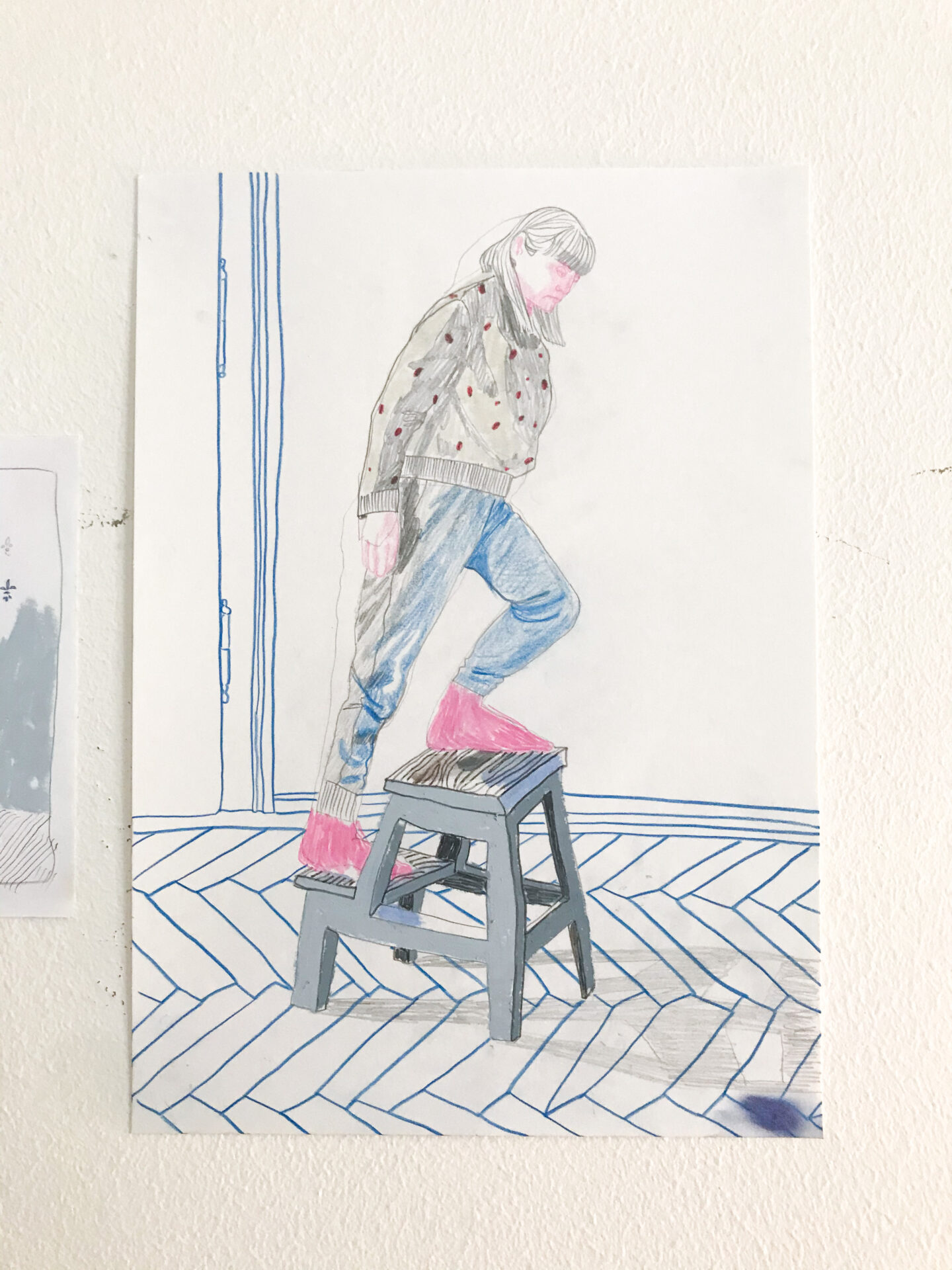 Interactions (Ikea), colored pencil and oil pastel on paper, 29 x 21 cm, 2020, Lisa Breyer