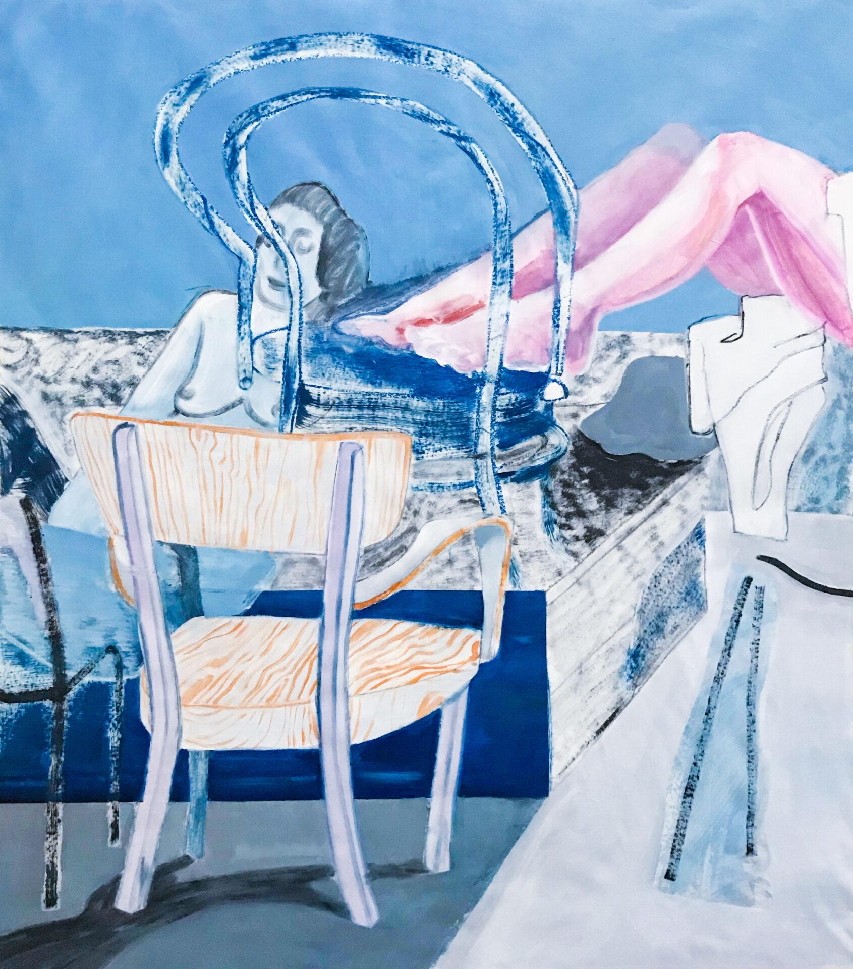 Akt und Sessel Malerei, Öl auf Papier