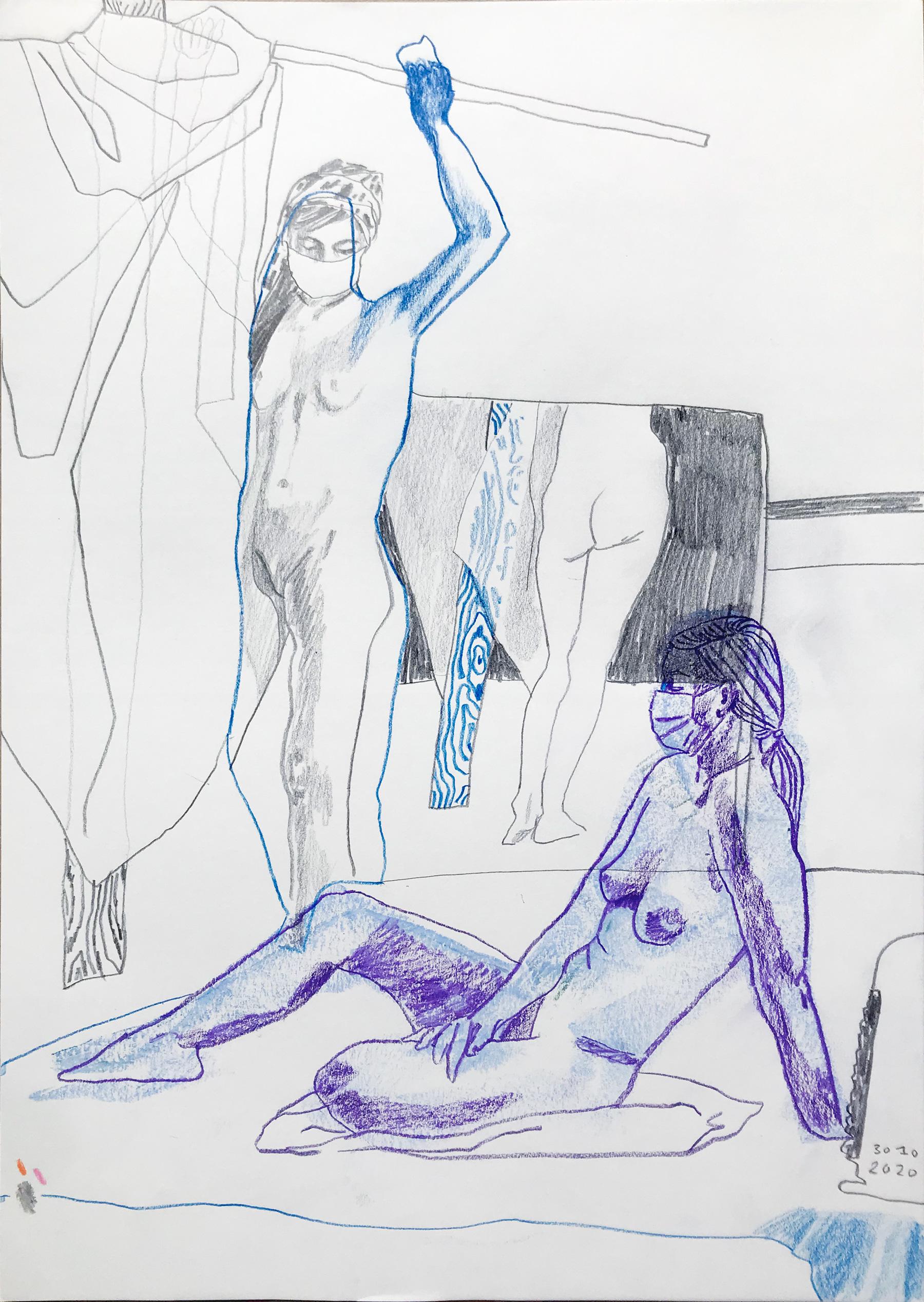 Akt, Preußischblau und Violett, 2020, Grafik, Lisa Breyer